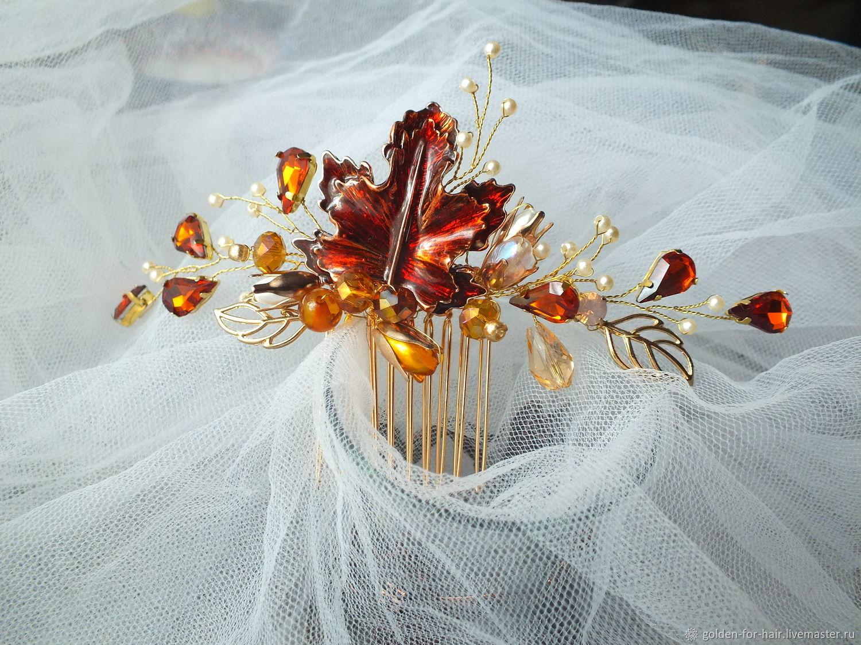 Свадебный гребень в цвете янтаря, Украшения, Санкт-Петербург, Фото №1