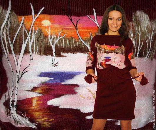 """Платья ручной работы. Ярмарка Мастеров - ручная работа. Купить Платье """" Розовый рассвет"""". Handmade. Бордовый, ручная работа"""