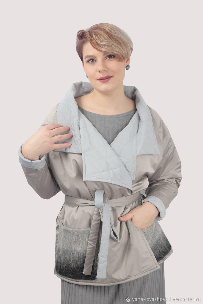 Куртка светлая плюссайз оверсайз стеганая демисезонная, Куртки, Москва,  Фото №1