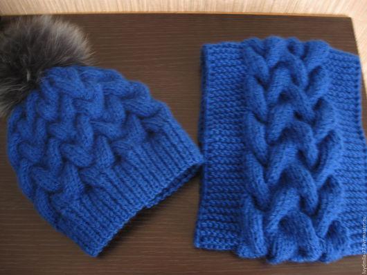 Шапки и шарфы ручной работы. Ярмарка Мастеров - ручная работа. Купить шапка и снуд. Handmade. Синий, орнамент, шапка и снуд