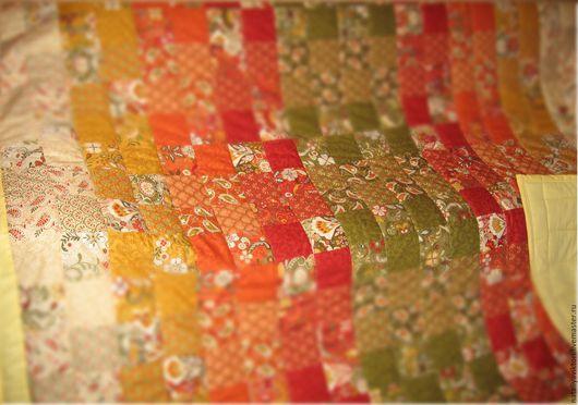 """Текстиль, ковры ручной работы. Ярмарка Мастеров - ручная работа. Купить """"Перо Жар-Птицы"""". Покрывало пэчворк.. Handmade. Бежевый"""