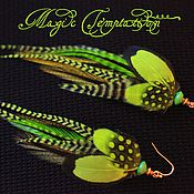 Украшения handmade. Livemaster - original item Light green feather earrings.. Handmade.