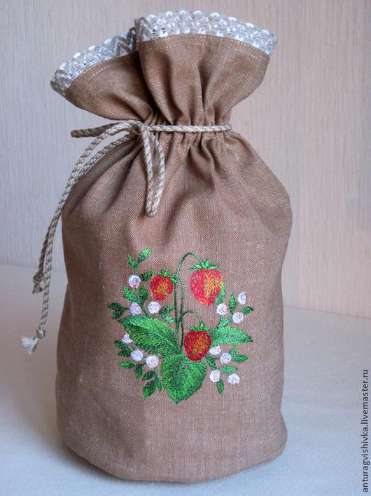 Льняной мешочек для хранения сушеных ягод - `Клубника`.