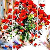 handmade. Livemaster - original item A riot of poppies. Polyptych of 5 canvases.. Handmade.
