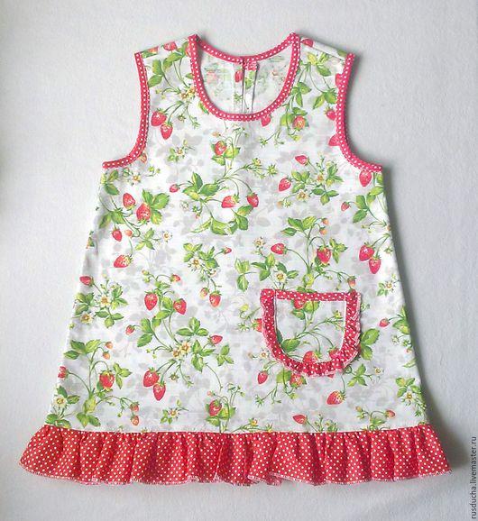 """Одежда для девочек, ручной работы. Ярмарка Мастеров - ручная работа. Купить Платье из плотного хлопка """"Земляничка"""".. Handmade. Цветочный"""