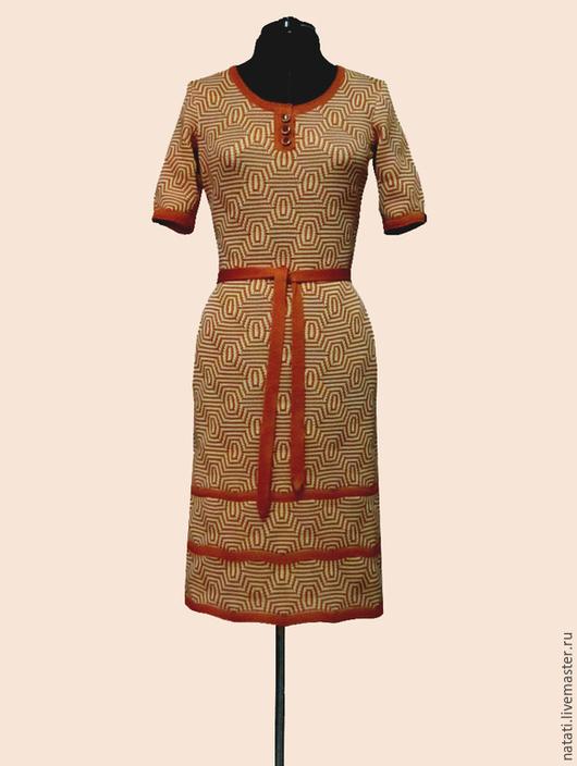Платья ручной работы. Ярмарка Мастеров - ручная работа. Купить Платье геометрия терракотовое. Handmade. Оранжевый