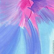 Картины и панно ручной работы. Ярмарка Мастеров - ручная работа Картина маслом Птица Счастья!, голубой розовый сиреневый мечта. Handmade.
