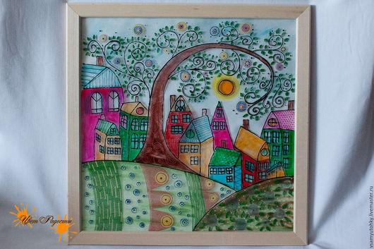 Город ручной работы. Ярмарка Мастеров - ручная работа. Купить Картина на стекле Город солнце весна. Handmade. Комбинированный
