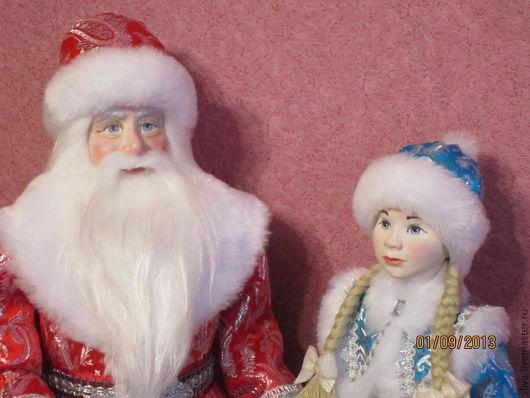 Куклы Дед Мороз и Снегурочка, самые любимые сказочные герои взрослых и детей. Непременные гости на всех детских новогодних праздниках, утренниках, представлениях, карнавалах. Ручная работа.