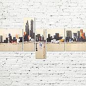 """Картины и панно ручной работы. Ярмарка Мастеров - ручная работа Модульная картина """"Город"""". Handmade."""