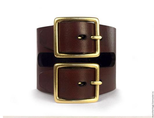 Браслеты ручной работы. Ярмарка Мастеров - ручная работа. Купить Кожаный браслет DOUBLE BUCKLE - коричневый. Handmade. Натуральная кожа