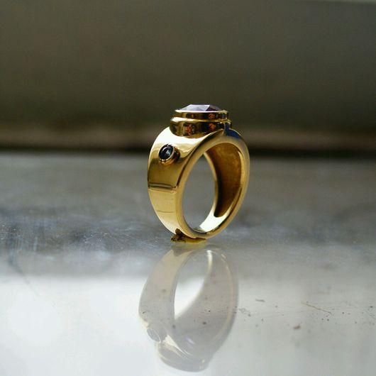 Украшения для мужчин, ручной работы. Ярмарка Мастеров - ручная работа. Купить Превосходство - перстень с аметистом и сапфиром. Handmade. Перстень мужской
