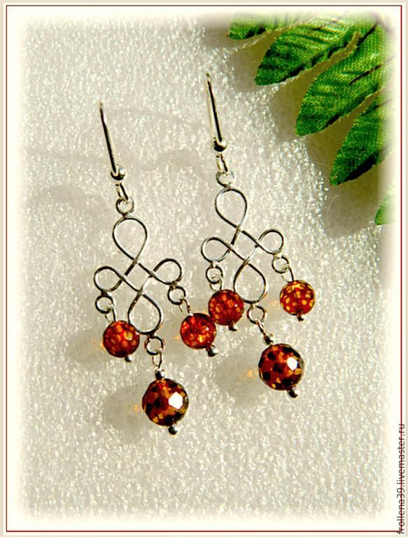 Earrings 'Harmony' amber silver, Earrings, Moscow,  Фото №1