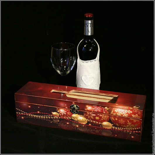 Новый год 2017 ручной работы. Ярмарка Мастеров - ручная работа. Купить Короб для вина Новогодний. Handmade. Короб для вина, бордовый