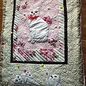 """Для дома и интерьера ручной работы. Ярмарка Мастеров - ручная работа Одеяло """"Кошки и цветы"""". Handmade."""