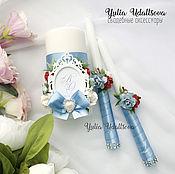 Свадебные свечи ручной работы. Ярмарка Мастеров - ручная работа Свечи на свадьбу в голубом цвете с красным (семейный очаг). Handmade.
