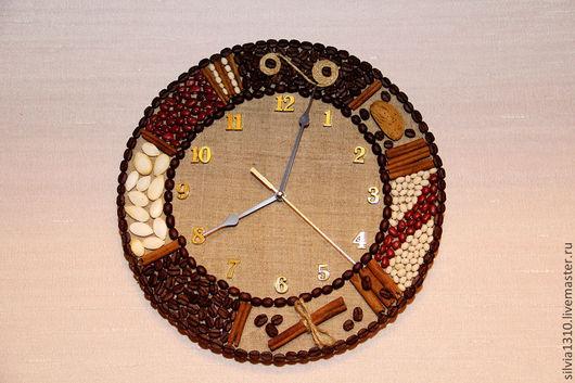 """Часы для дома ручной работы. Ярмарка Мастеров - ручная работа. Купить Часы настенные """"Кофе с корицей"""". Handmade. Коричневый, семена"""