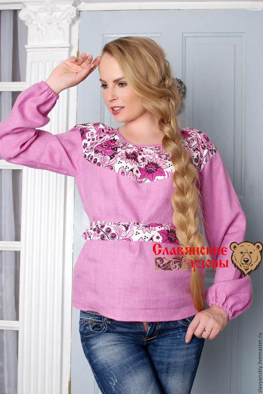 """Блузки ручной работы. Ярмарка Мастеров - ручная работа. Купить Блуза """"Гжель"""" розово-фиолетовая. Handmade. Розовый, лиловая, на лето"""