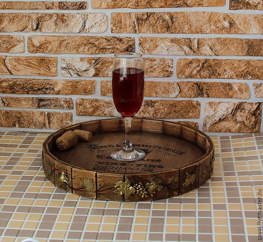 Round tray from the array in the form of cut barrels 'Grape Paradise, Trays, ,  Фото №1