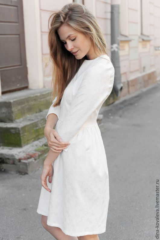 Платья ручной работы. Ярмарка Мастеров - ручная работа. Купить Платье из жаккарда Белоснежное. Handmade. Однотонный, пышная юбка, солнце