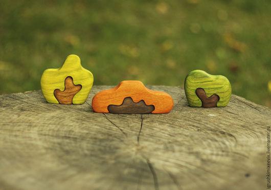 Развивающие игрушки ручной работы. Ярмарка Мастеров - ручная работа. Купить Кусты, набор из 3 шт. Вальдорфская деревянная игрушка.. Handmade.
