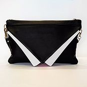 "Сумки и аксессуары handmade. Livemaster - original item Handbag ""White collar"",black leather, clutch black,with a butterfly. Handmade."