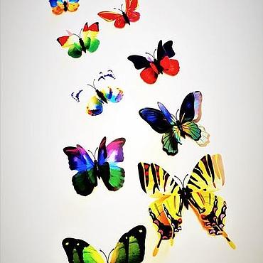 Материалы для творчества ручной работы. Ярмарка Мастеров - ручная работа Набор бабочек 3D на магните(двойном скотче )12 штук. 5 вариантов цвета. Handmade.