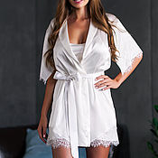 Robes handmade. Livemaster - original item Wedding set of the bride`s robe and chemise made of 100% silk with lace. Handmade.