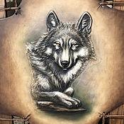 """Картины ручной работы. Ярмарка Мастеров - ручная работа Панно """"Волк"""" из натуральной кожи. Handmade."""