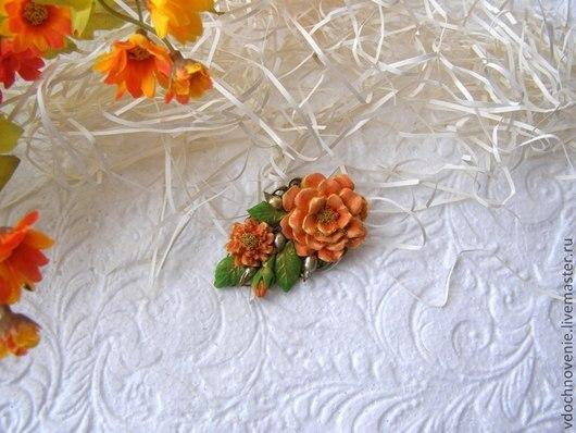 """Заколки ручной работы. Ярмарка Мастеров - ручная работа. Купить Заколка """"Оранжевые цветы"""".. Handmade. Оранжевый, заколка для волос"""