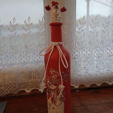 Посуда. Ярмарка Мастеров - ручная работа Бутылки: семейка снеговиков дарит радость. Handmade.