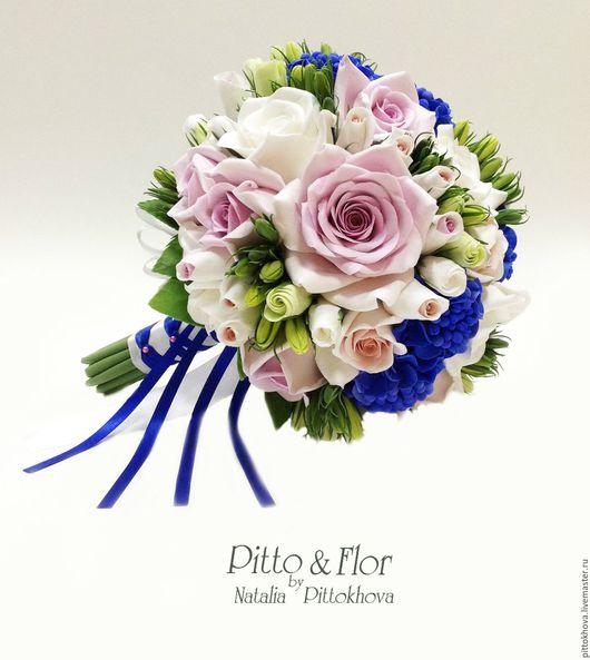 """Свадебные цветы ручной работы. Ярмарка Мастеров - ручная работа. Купить Букет невесты """"Белые розы и синие гортензии"""". Handmade."""
