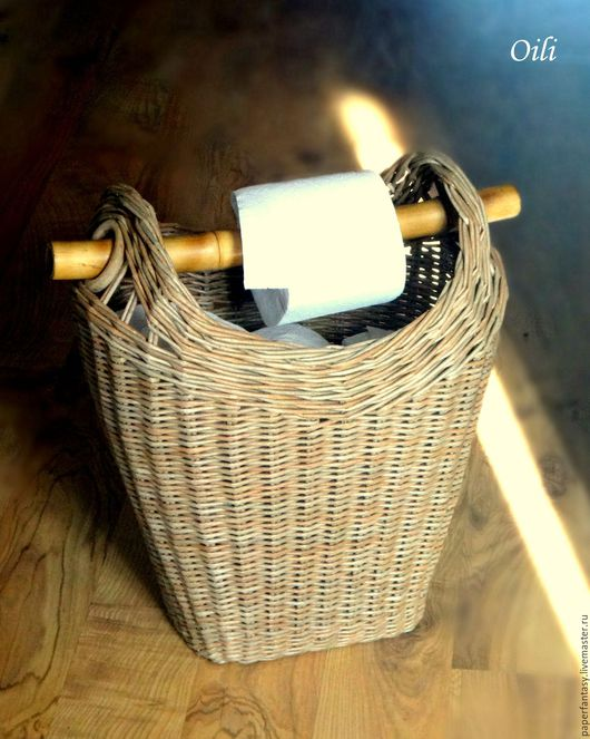 """Ванная комната ручной работы. Ярмарка Мастеров - ручная работа. Купить корзинка плетеная """"Полезная"""". Handmade. Бежевый, туалет, бумага"""
