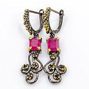 Украшения handmade. Livemaster - original item Handmade earrings in silver with natural rubies and sapphires. Handmade.