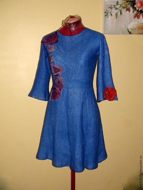 """Валяное платье """" РОЗЫ """" синее длинное меринос, Платья, Борас, Фото №1"""