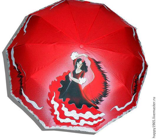 """Зонты ручной работы. Ярмарка Мастеров - ручная работа. Купить зонт ручной росписи """"Кармен"""". Handmade. Ярко-красный, танец"""