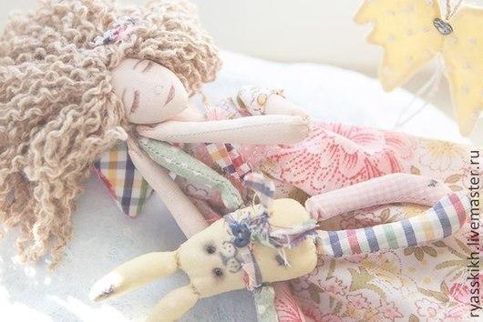 Коллекционные куклы ручной работы. Ярмарка Мастеров - ручная работа. Купить Облачный Ангел...))). Handmade. Ангел, облака, зайка