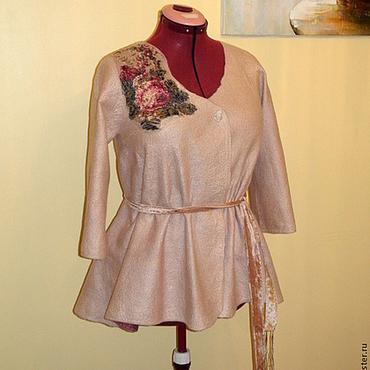"""Одежда ручной работы. Ярмарка Мастеров - ручная работа Валяный пиджак """" Дымчатая роза """" бежевый. Handmade."""