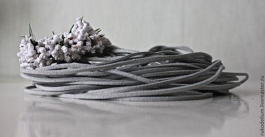Для украшений ручной работы. Ярмарка Мастеров - ручная работа. Купить Замшевый шнур. Handmade. Серый, замша, замшевый, шнур