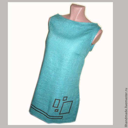 """Платья ручной работы. Ярмарка Мастеров - ручная работа. Купить Платье с вышивкой """"Геометрия"""" - натуральный лён. Handmade. Тёмно-бирюзовый"""