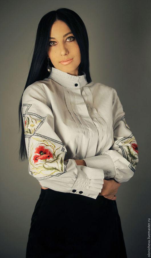 """Блузки ручной работы. Ярмарка Мастеров - ручная работа. Купить Хлопковая блуза вышиванка """"Красный мак"""". Handmade. Белый"""