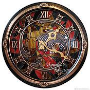"""Для дома и интерьера handmade. Livemaster - original item Большие красивые настенные часы """"Волны времени"""" витражные с подсветкой. Handmade."""