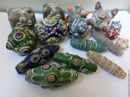 Антикварные бусины Древний Пекин в ассортименте. Антикварные бусины для колье, антикварные стеклянные бусины для браслетов, этнические бусины для серег.