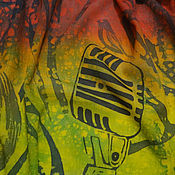 Аксессуары ручной работы. Ярмарка Мастеров - ручная работа Шарф батик шерсть Ретро микрофон. Handmade.