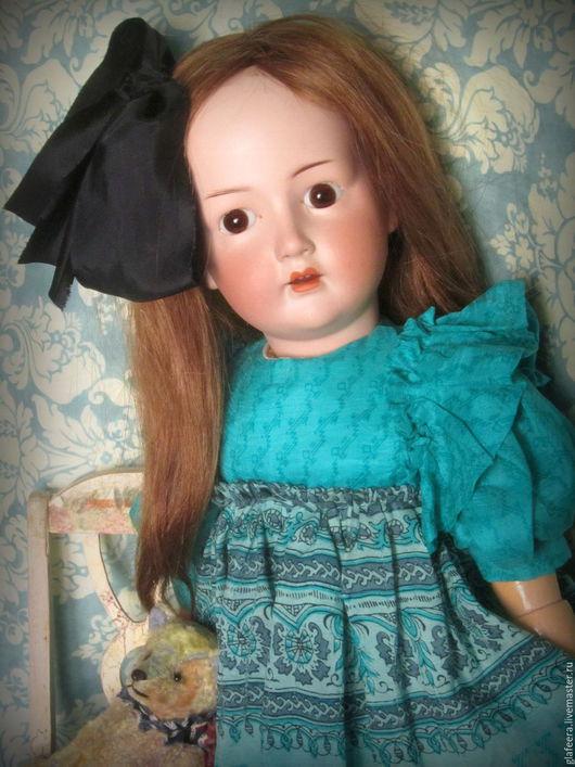 Одежда для кукол ручной работы. Ярмарка Мастеров - ручная работа. Купить Шелковое платье для антикварной куклы.. Handmade. Зеленый
