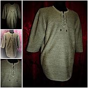 Одежда handmade. Livemaster - original item 100% bleached linen yarn.Chainmail shirt with three quarter sleeve. Handmade.