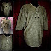 Одежда ручной работы. Ярмарка Мастеров - ручная работа 100% не белёная льняная пряжа.Рубаха Кольчуга с рукавом три четверти. Handmade.
