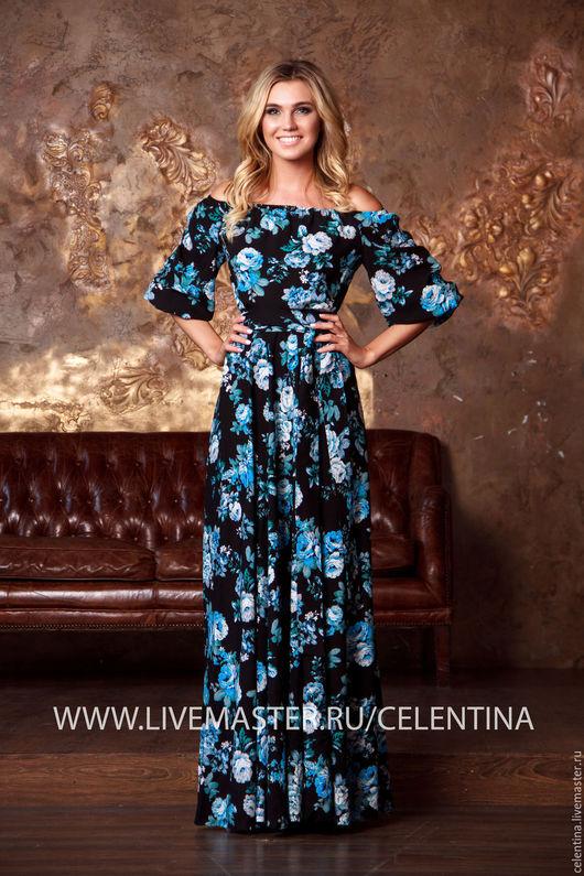 длинное платье на лето, платье черное цветочное, платье крестьянка, платье красивое, летнее платье, платье летнее в пол, красивое синее платье, платье в отпуск, платье с открытыми плечами, цветочное