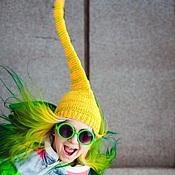 Аксессуары handmade. Livemaster - original item Yellow hat with pompom. Handmade.