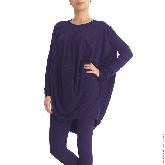 Блузки ручной работы. Ярмарка Мастеров - ручная работа. Купить Фиолетовая блузка длинный рукав.Блузка-туника (осень) - SHELL FALL. Handmade.